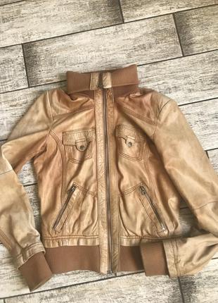 Кожаная куртка, косуха, натуральная кожа, лайка, bershka