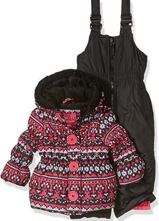 Фирменная зимняя курточка и комбинезон pink platinum 12m
