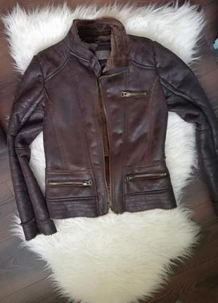 Куртка zara укороченная дубленка