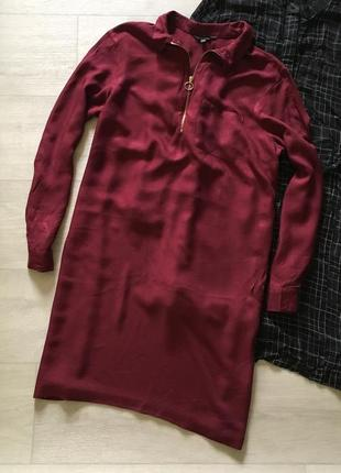 Платье рубашка цвета марсала