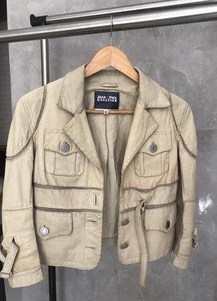 Кожаная укороченная куртка jean paul gaultier