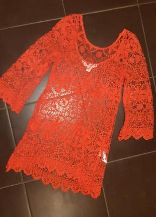 Пляжное платье h&m гипюр