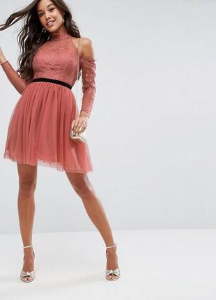 Фатиновое платье с открытой спинкой asos