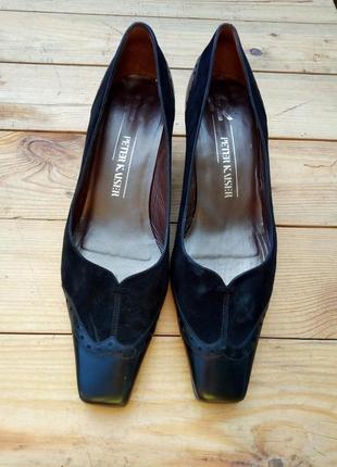 39р/26.5 елегантные черные замшевые комбинированные кожаные классические,оксфорды,лодочки.