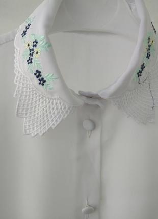 Шифоновая вышитая рубашка/блуза вышиванка tu для школы