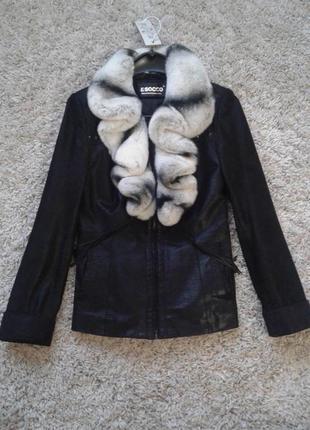 Кожаная замшевая куртка с воротником из шиншилли рекс