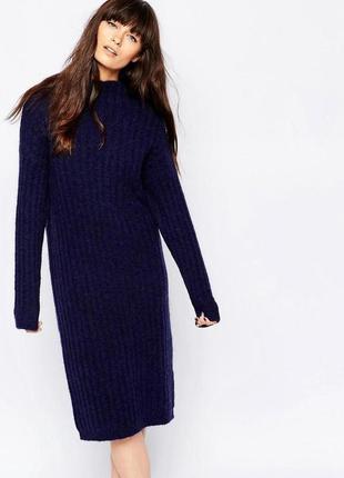 Теплое вязаное миди  платье косы 100% котон