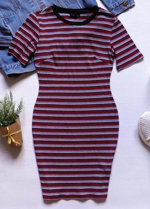 Платье в рубчик от top shop сукня осіння осеннее платье полосатое платье  футболка d3df2c9af6af6