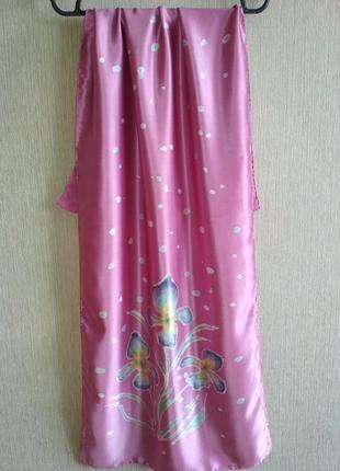 Красивый шарф с ирисами из натурального шелка,шов роуль