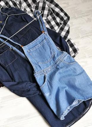 Голубой джинсовый сарафан 130627 bershka размер xs комбинезон