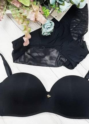 Гладкий бесшовный комплект в черном цвете,с лифом анжелика5
