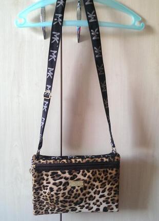 Леопардовая небольшая сумка, клатч michael kors