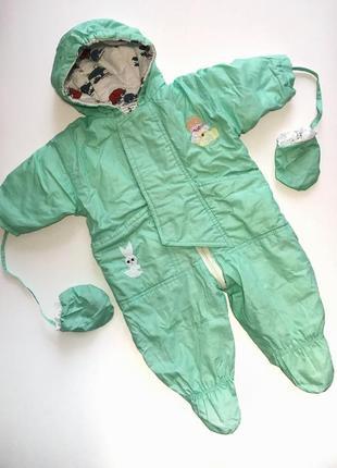 Демисезонный осенний/весенний салатовый комбинезон на девочку с топами и перчатками 68р