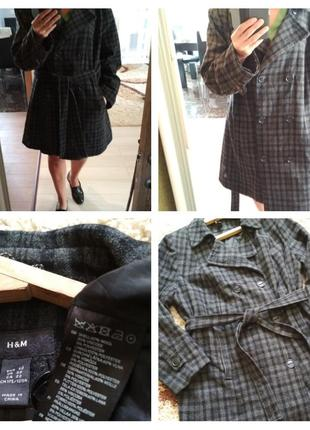 Красивое стильное шерстяное пальто ,клетка,под пояс, р. 50