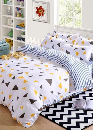 Комплект постельного белья желтые и темно-синие треугольники (полуторный)