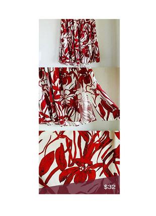 Красно-белая юбка с высокой посадкой mangoс биркой и разрезами по бокам