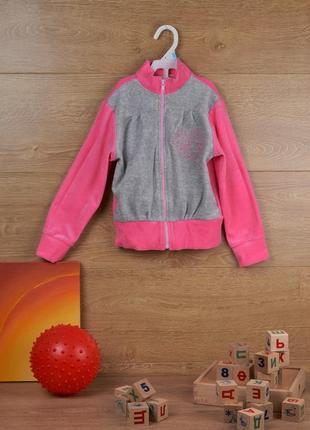 Велюровый спортивный костюм без капюшона для девочки - р.116