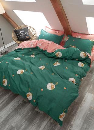 Комплект постельного белья олени на зеленом фоне (подростковый)