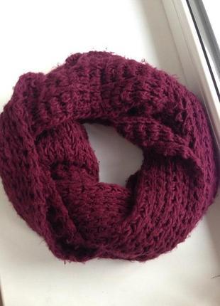 Бордовый шарф хомут bershka