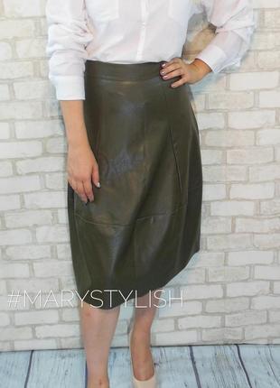 Модная юбка красивого цвета оливкового, эко-кожа, италия