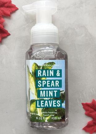 Увлажняющее мыло-пена bath and body works - rain & spearmint leaves (сша)1