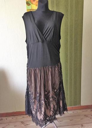 Нарядное платье большого размера с заниженной талией