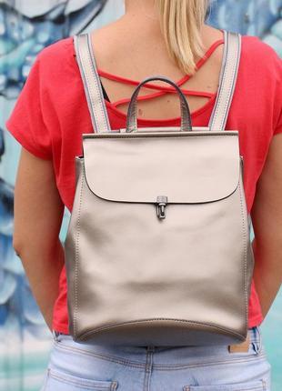Шикарный серебристый рюкзак-трансфомер, натуральная кожа