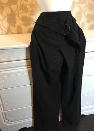 Теплые широкие штаны на поясе