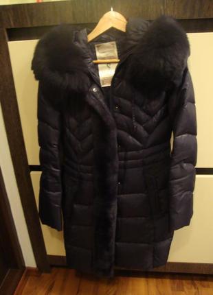 Зимнее пальто, натуральный мех peercat