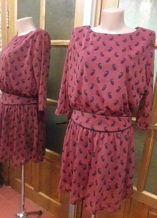 Платье теракотового цвета в мелкий принт