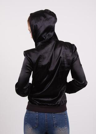 Ветровка бомбер куртка черная атласная с капюшоном silvian heach