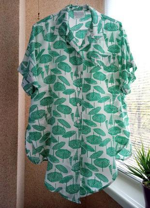 """Оригинальная  блуза с коротким  рукавом в принь """"зонтики"""""""
