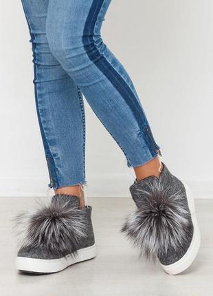 Демисезонные и зимние женские слипоны / ботинки из валяной шерсти с мехом