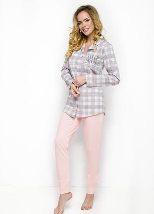 Пижама хлопок 2239 taro женская рубашка в клеточку и штаны брюки 61fa997d3b4ee