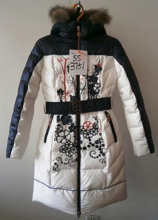 Пальто для девочки кико бело синего цвета японская роза.зима 2018