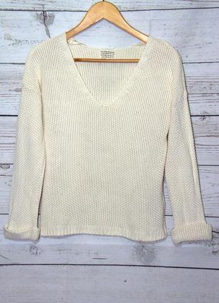 Классный вязанный пуловер,кофта молочного цвета new cook