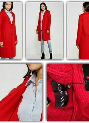 Классическое, красное, шерстяное пальто, длинное4 фото