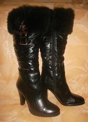 Зимние сапоги на каблуке 9 см. рр. 36-40