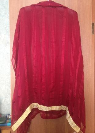 Роскошный шарф шаль палантин парео цвета марсала натуральный шелк. лучшая цена!