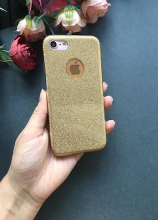 Крутой силиконовый чехол в блестках на айфон iphone 5/5s se 6/6s 7 7 plus x золотой1
