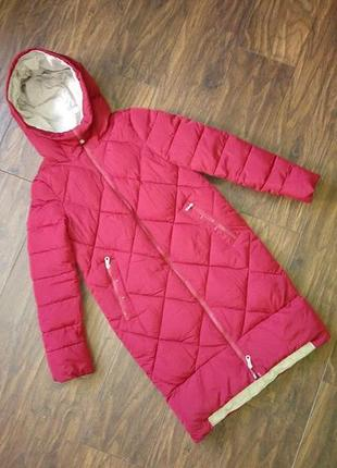Пальто зимнее цвет марсала