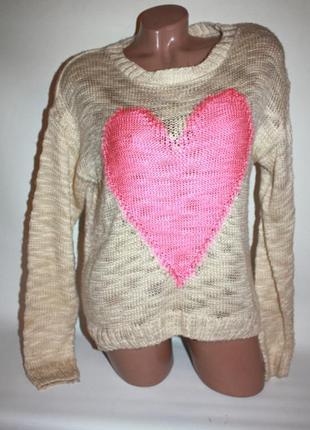 Бежевый акриловый акрил свитер с розовым сердечком new look (к000)
