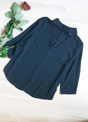 Блуза atmosphere с чокером шифоновая черная