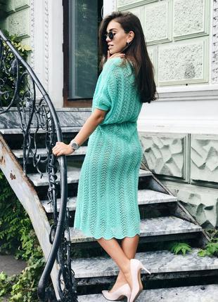 Вязаное ажурное платье ручной работы в бирюзовом цвете♥оверсайз.3 фото
