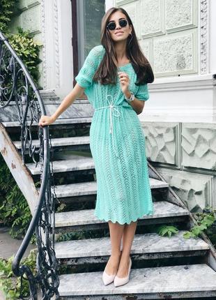 Вязаное ажурное платье ручной работы в бирюзовом цвете♥оверсайз.2 фото