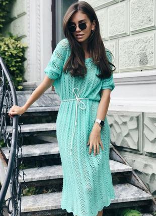 Вязаное ажурное платье ручной работы в бирюзовом цвете♥оверсайз.1 фото