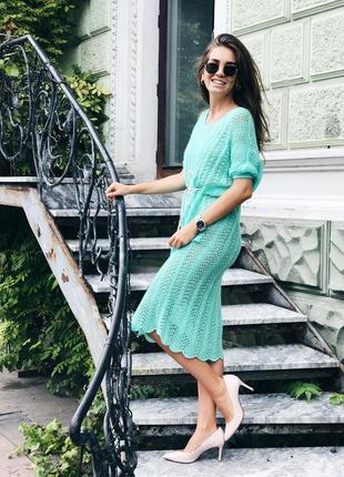 Вязаное ажурное платье ручной работы в бирюзовом цвете♥оверсайз.5 фото