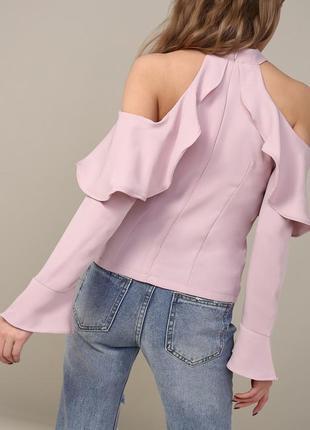 Шикарная лиловая блуза с воланами и открытыми плечами от vogue