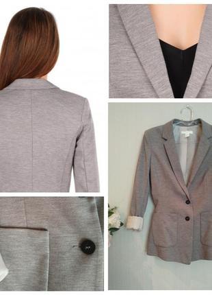 Трикотажный пиджак h&m серо-бежевый меланж