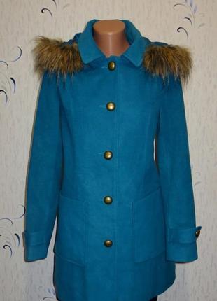 Красивое бирюзовое полушерстяное пальто с мехом от senfo размер: 48-l